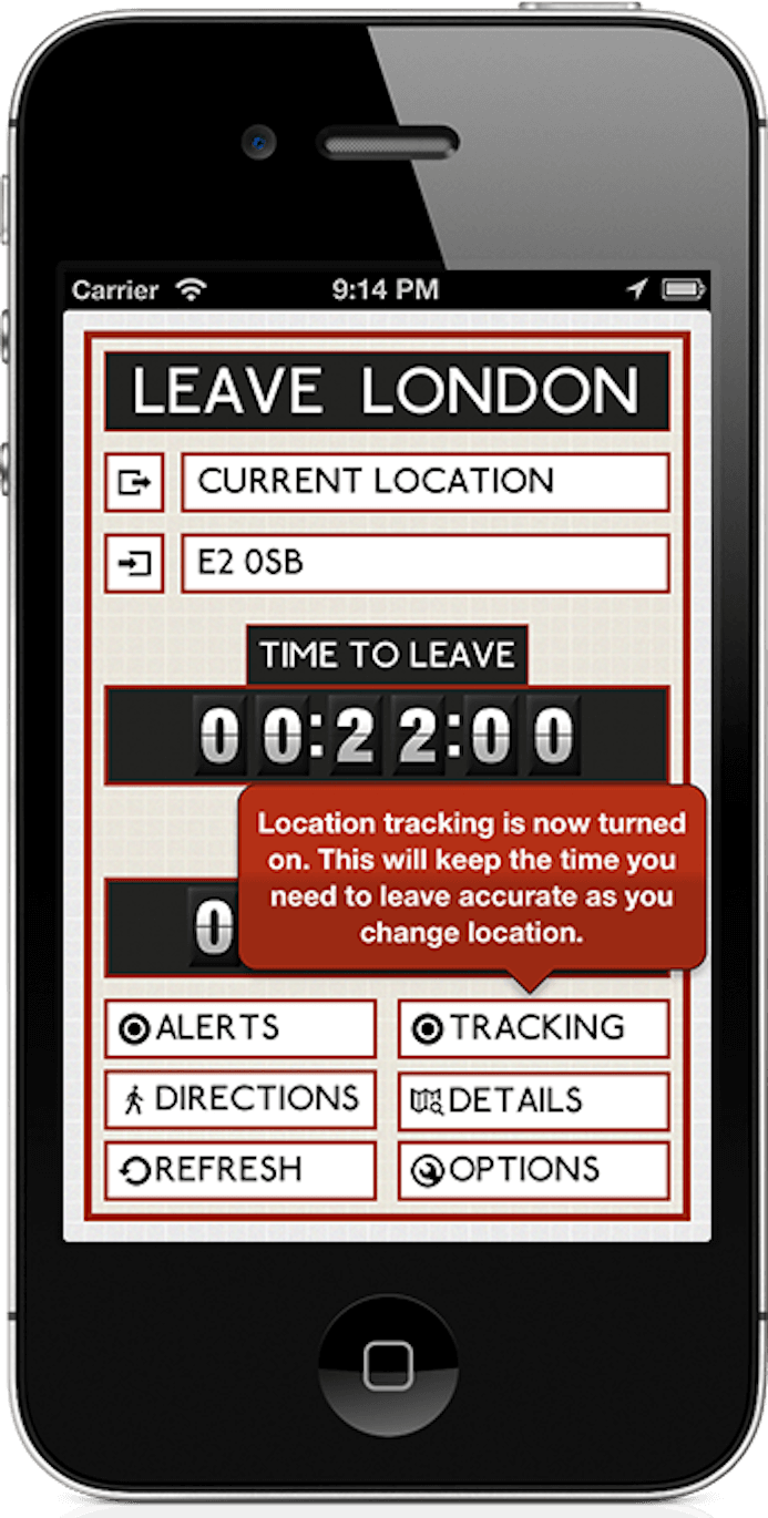 Leave London iOS app running on an iPhone, showing that it's tracking your location
