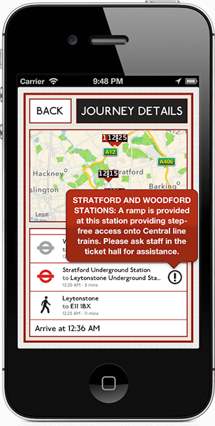 Leave London iOS app running on an iPhone, showing that it displays journey disruption