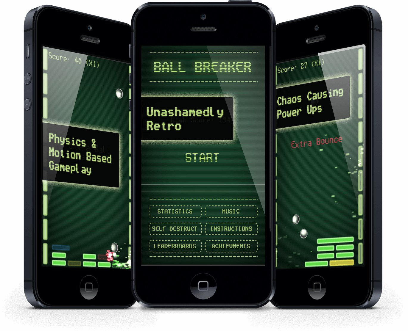 Ball Breaker iOS app running on 3 iPhone 5 devices, side by side on various screens