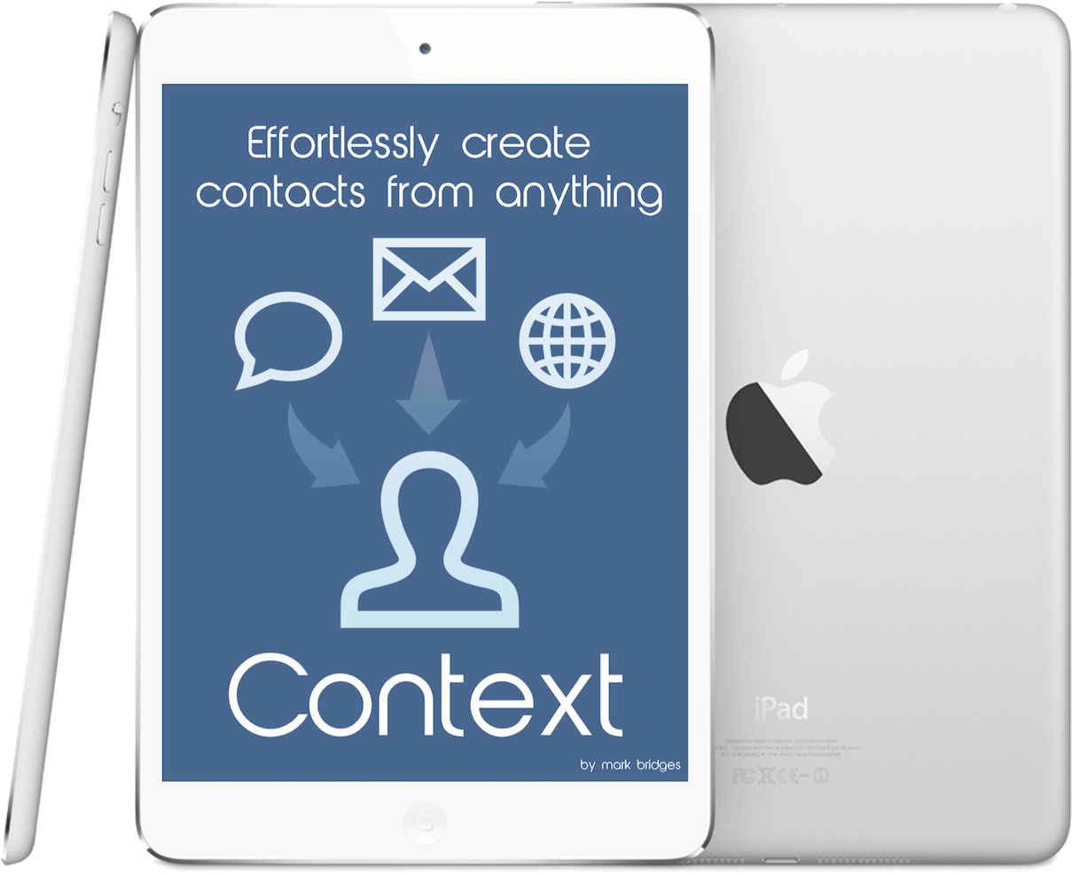 Context iOS app splash screen displayed on an iPad
