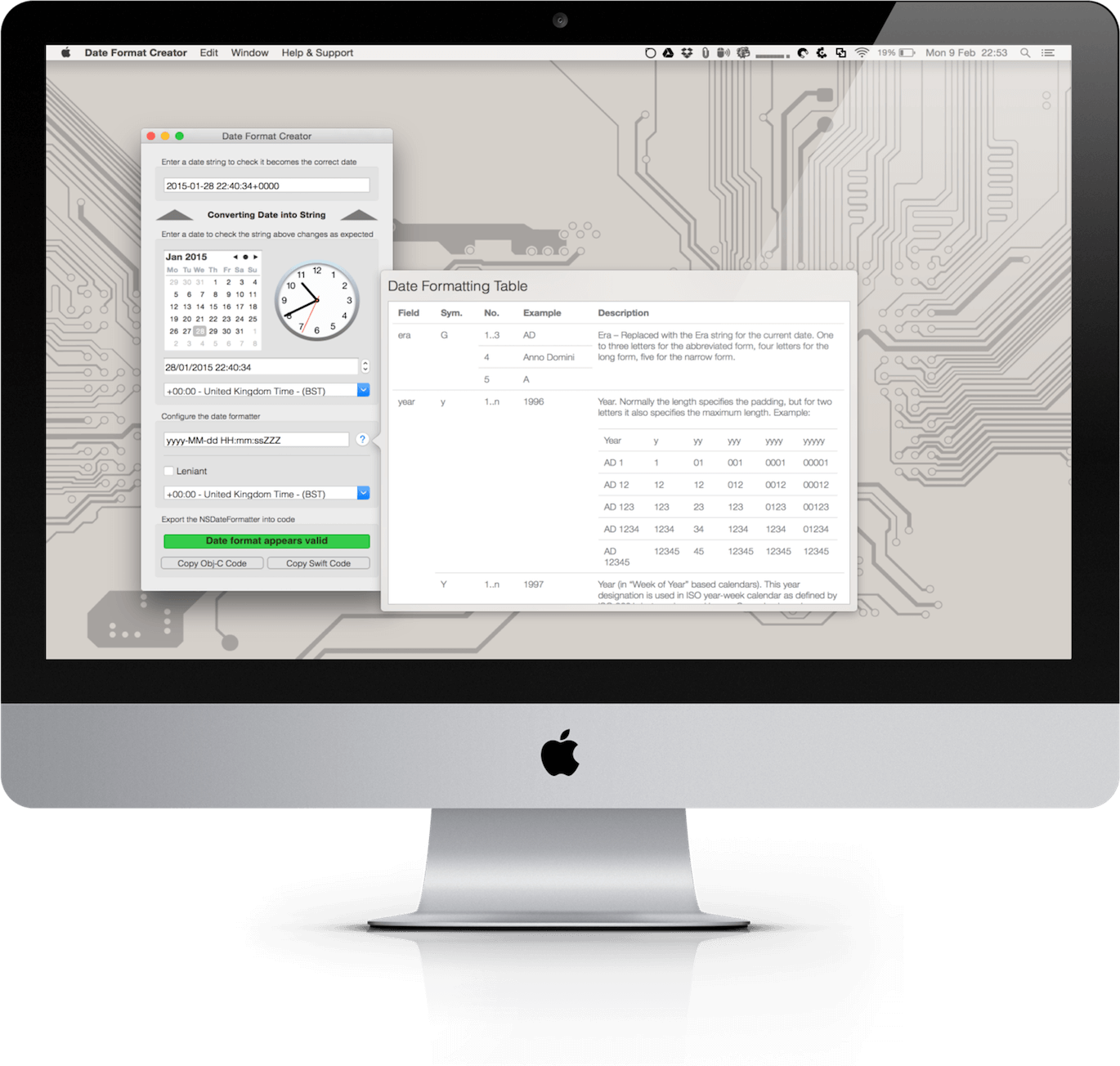 Date Format macOS app running on an Apple iMac displaying the various date format symbols chart